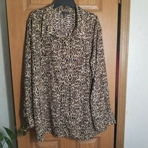George Silky Leopard print button up career blouse